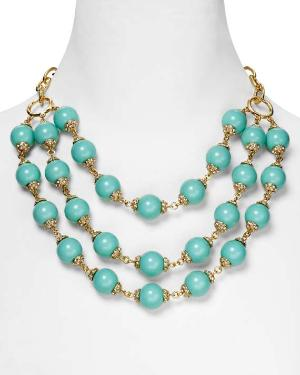 Aqua Crystal and Resin Three Strand Bobble Necklace