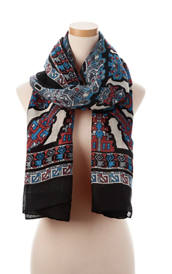Theodora & Callum's Multi Inca Tie All Scarf supports the Joyful Heart