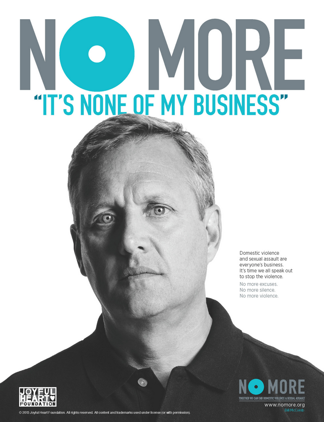 "Designed to increase awareness and action to end domestic violence and sexual assault, the NO MORE symbol is spreading the message nationwide. It asks supporters to join in saying ""NO MORE silence, NO MORE violence and NO MORE excuses."" Learn more at nomore.org."